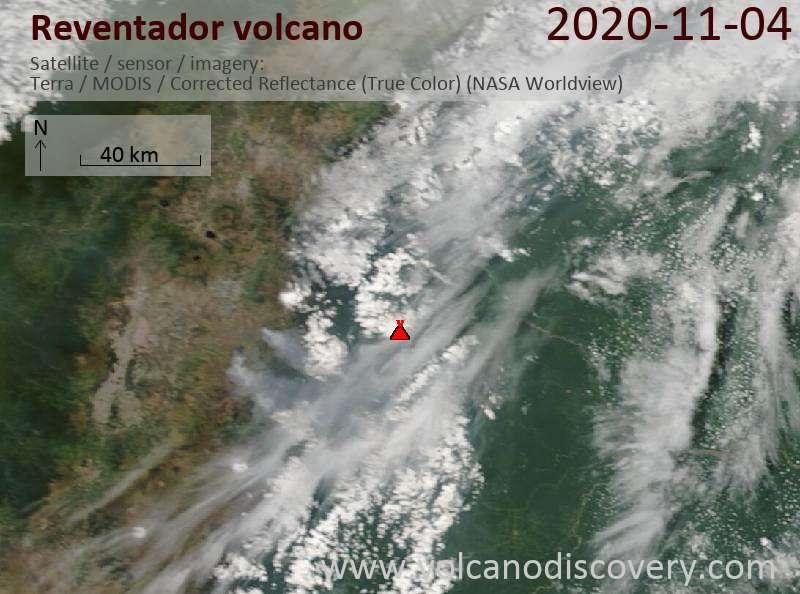Satellite image of Reventador volcano on  4 Nov 2020