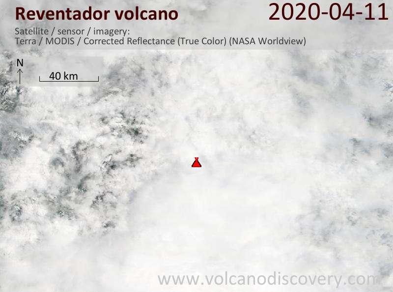 Satellite image of Reventador volcano on 11 Apr 2020