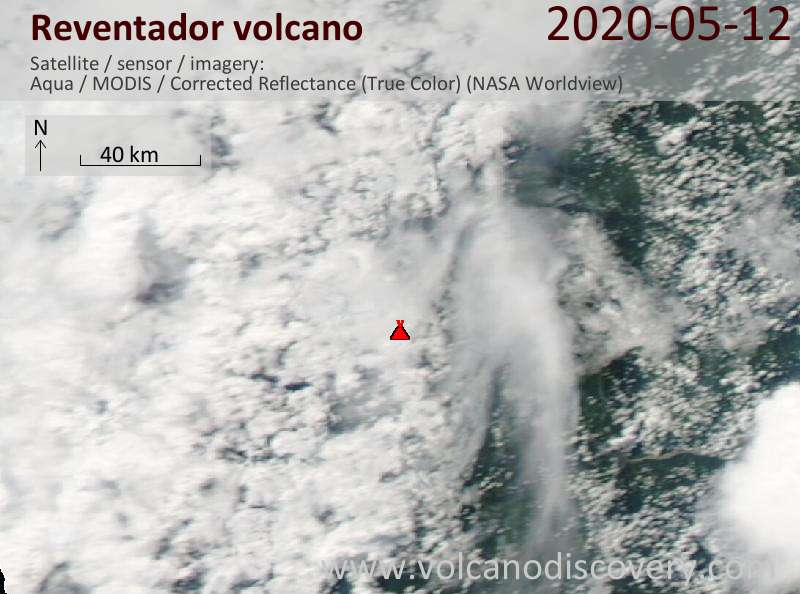 Satellite image of Reventador volcano on 13 May 2020
