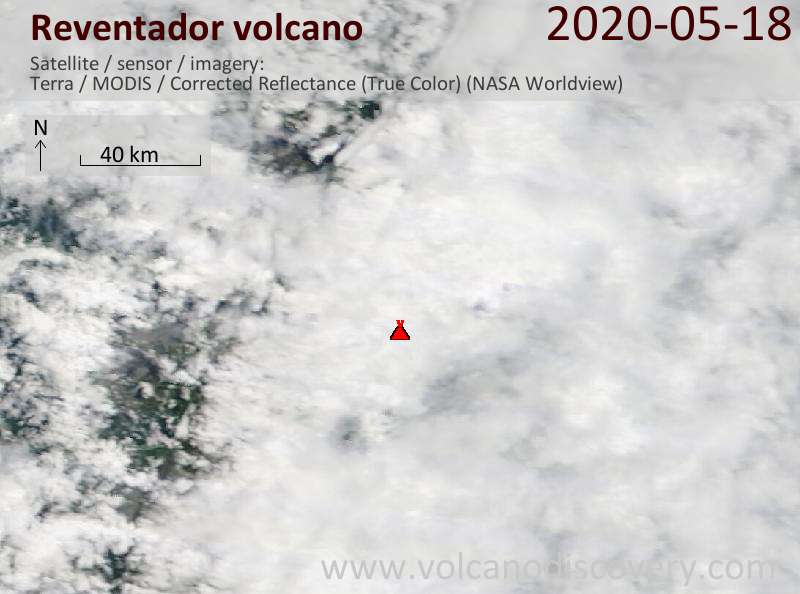 Satellite image of Reventador volcano on 18 May 2020