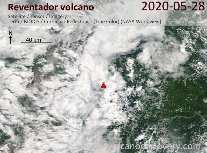 Satellitenbild des Reventador Vulkans am 28 May 2020