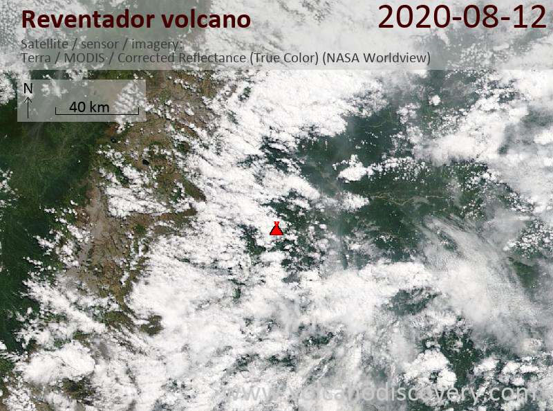 Satellite image of Reventador volcano on 12 Aug 2020