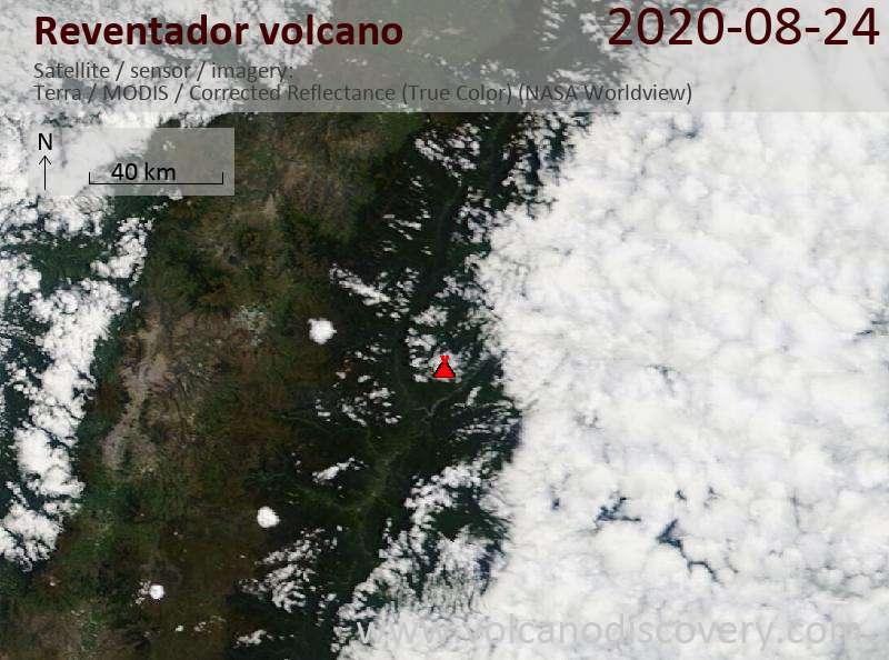Satellite image of Reventador volcano on 24 Aug 2020
