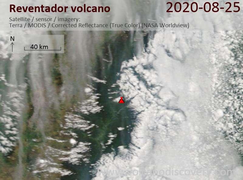 Satellite image of Reventador volcano on 25 Aug 2020