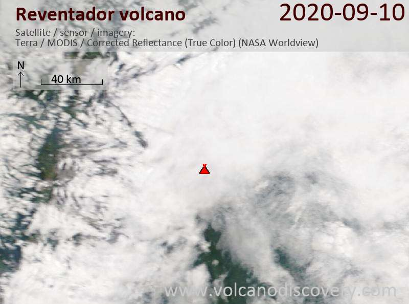 Satellite image of Reventador volcano on 10 Sep 2020