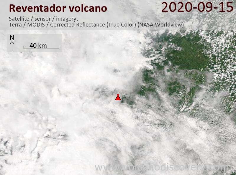 Satellitenbild des Reventador Vulkans am 15 Sep 2020
