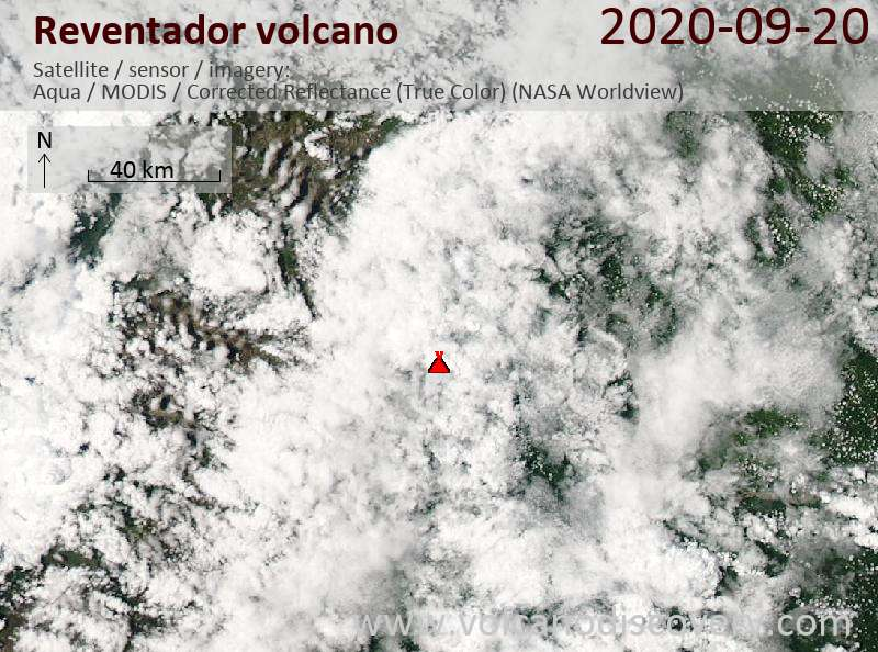 Satellite image of Reventador volcano on 21 Sep 2020