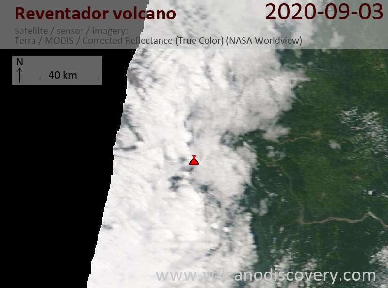 Satellitenbild des Reventador Vulkans am  3 Sep 2020