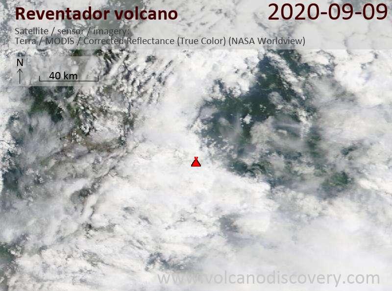 Satellite image of Reventador volcano on  9 Sep 2020