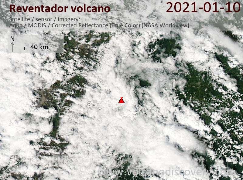Satellite image of Reventador volcano on 10 Jan 2021