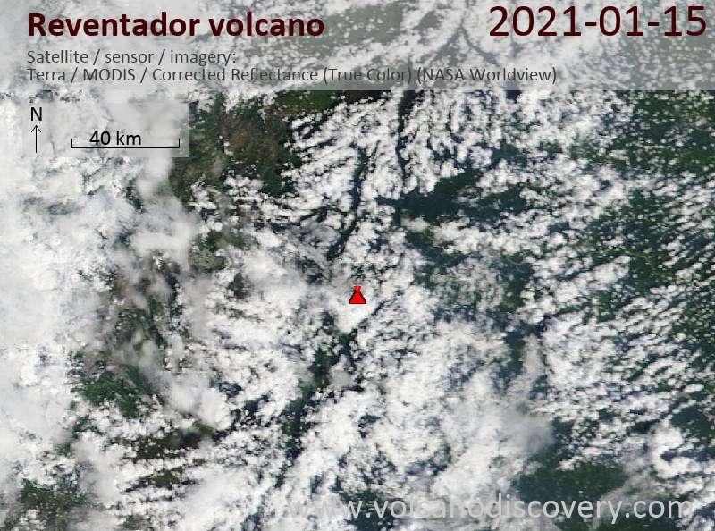 Satellite image of Reventador volcano on 15 Jan 2021