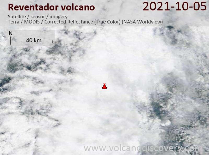 Satellite image of Reventador volcano on  5 Oct 2021