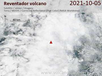Satellite image of Reventador volcano on  6 Oct 2021