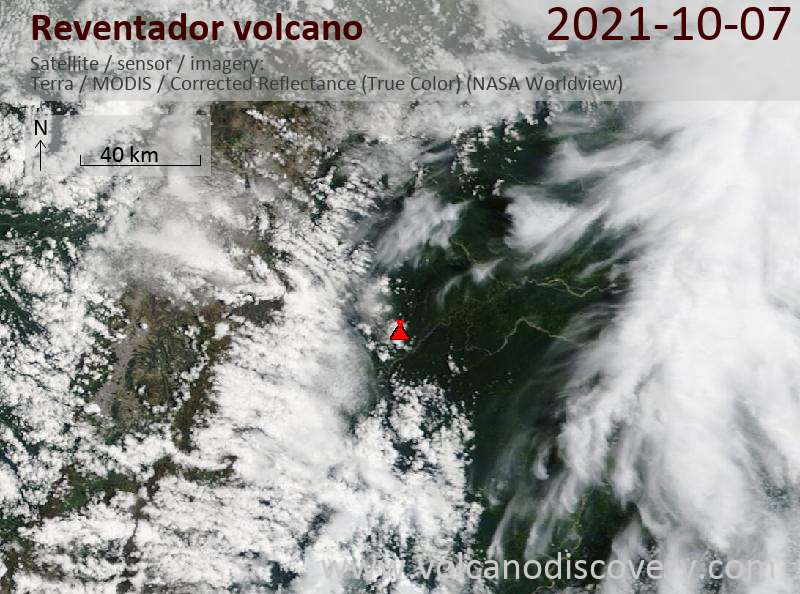 Satellite image of Reventador volcano on  7 Oct 2021
