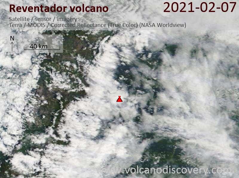 Satellite image of Reventador volcano on  8 Feb 2021