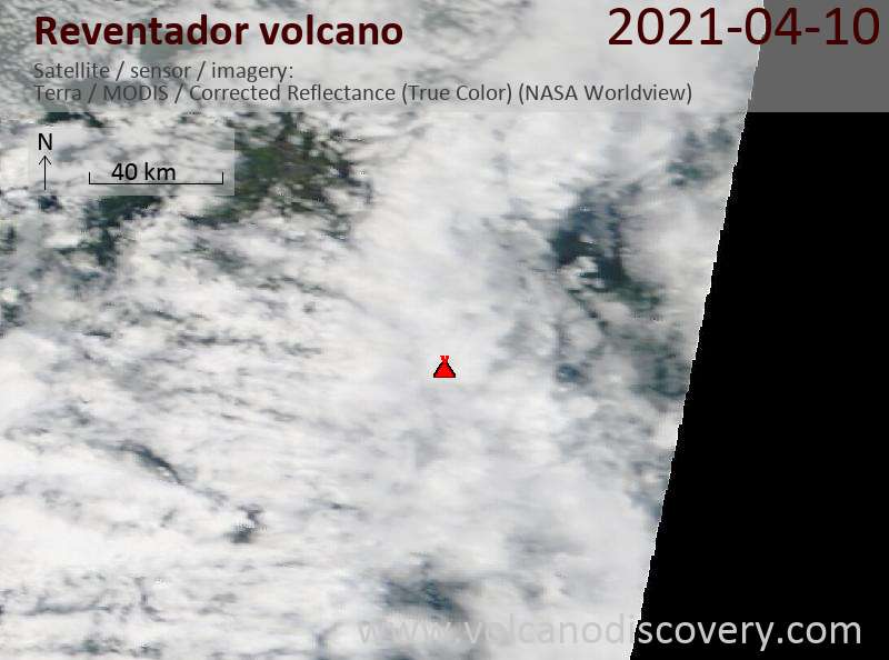 Satellite image of Reventador volcano on 11 Apr 2021
