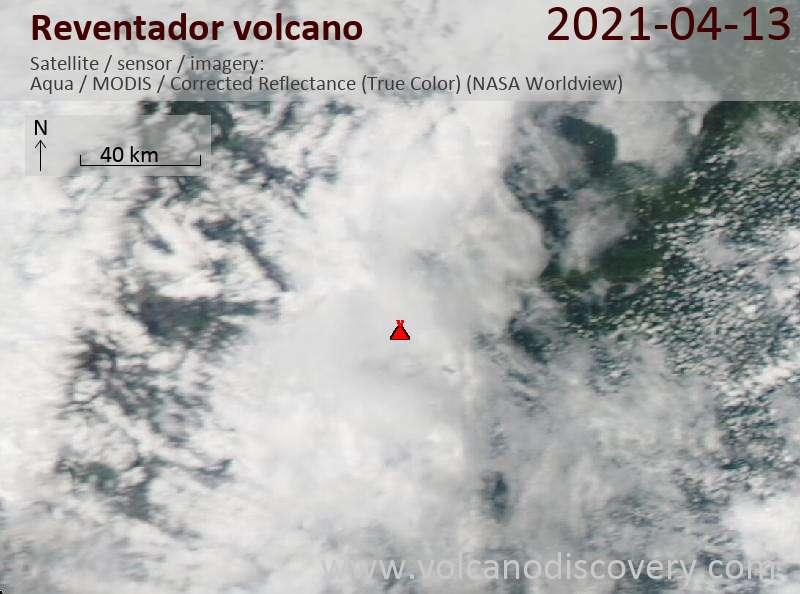 Спутниковое изображение вулкана Reventador 13 Apr 2021