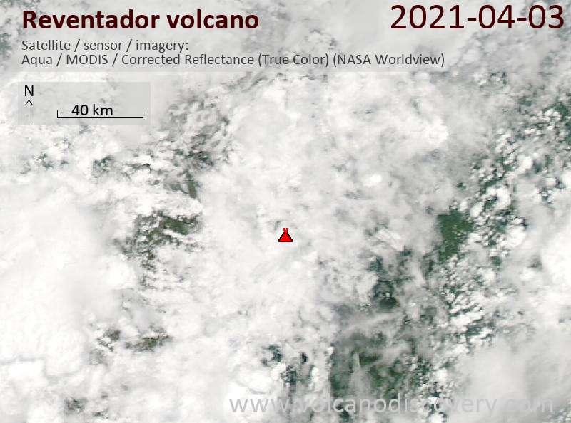Спутниковое изображение вулкана Reventador  3 Apr 2021