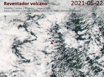 Satellite image of Reventador volcano on 23 May 2021