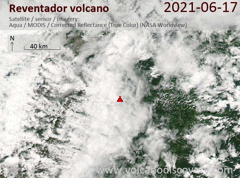 Satellite image of Reventador volcano on 18 Jun 2021