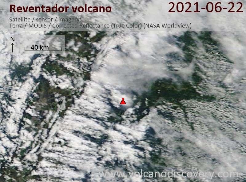 Satellite image of Reventador volcano on 23 Jun 2021