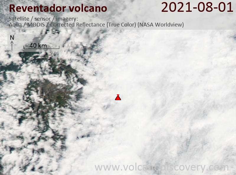 Спутниковое изображение вулкана Reventador  2 Aug 2021
