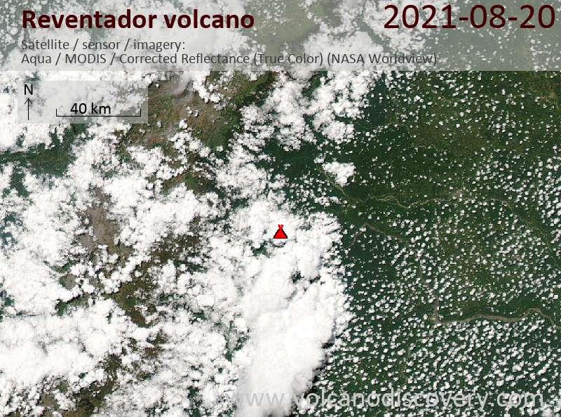 Satellite image of Reventador volcano on 21 Aug 2021