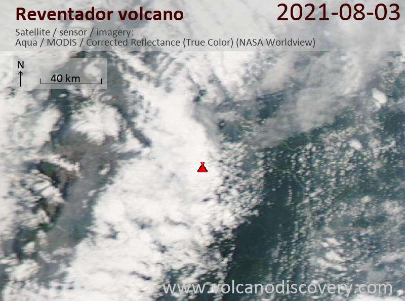 Satellite image of Reventador volcano on  3 Aug 2021
