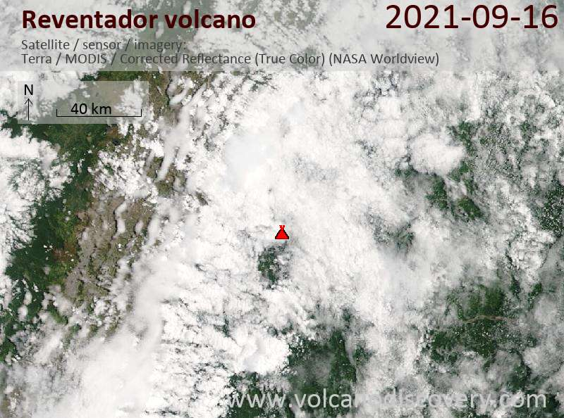Спутниковое изображение вулкана Reventador 17 Sep 2021
