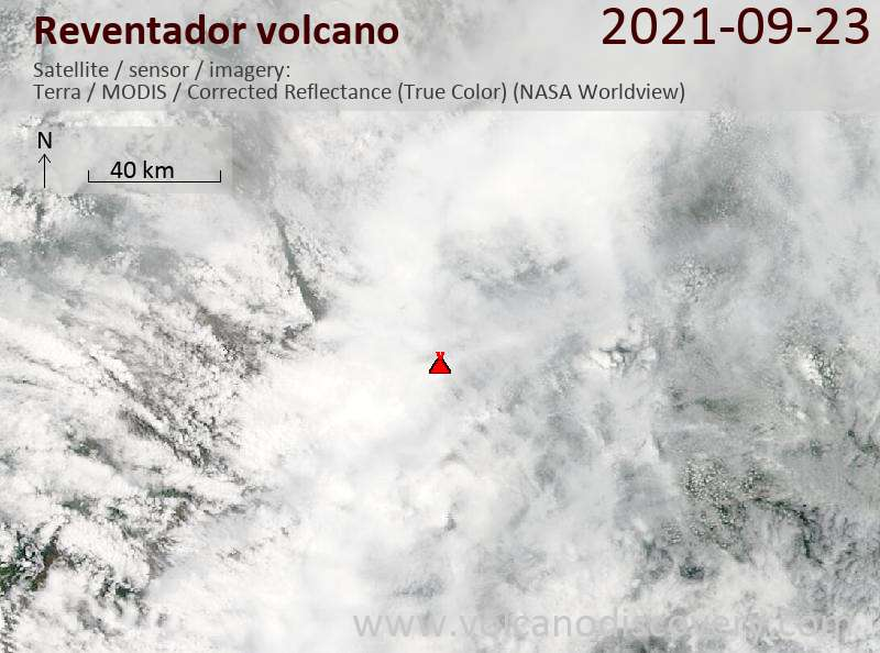Спутниковое изображение вулкана Reventador 24 Sep 2021