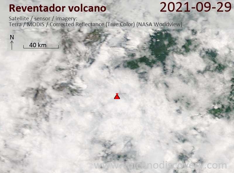 Satellite image of Reventador volcano on 29 Sep 2021