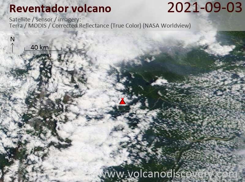 Satellite image of Reventador volcano on  4 Sep 2021