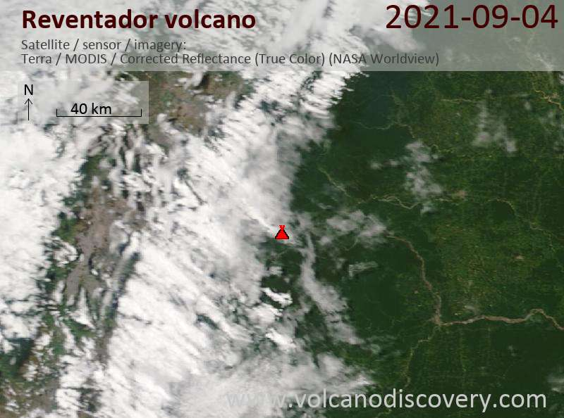 Satellite image of Reventador volcano on  6 Sep 2021