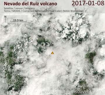 Satellite image of Nevado del Ruiz volcano on  8 Jan 2017
