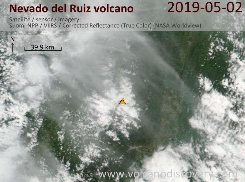 Satellite image of Nevado del Ruiz volcano on  2 May 2019