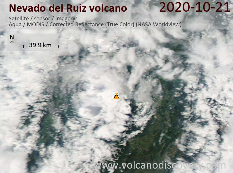 Satellite image of Nevado del Ruiz volcano on 21 Oct 2020