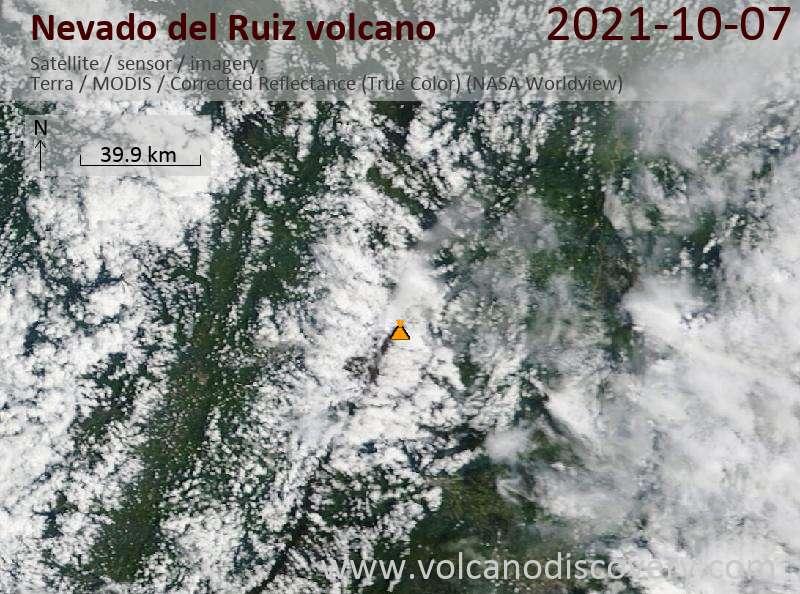 Satellite image of Nevado del Ruiz volcano on  8 Oct 2021