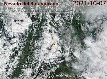 Satellite image of the Nevado del Ruiz volcano on October 8, 2021