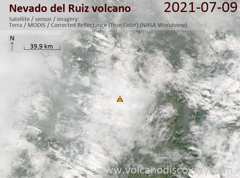 Satellite image of Nevado del Ruiz volcano on 10 Jul 2021