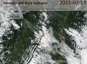 Satellite image of Nevado del Ruiz volcano on 20 Jul 2021