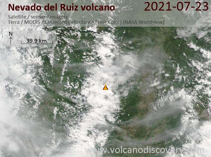 Satellite image of Nevado del Ruiz volcano on 23 Jul 2021