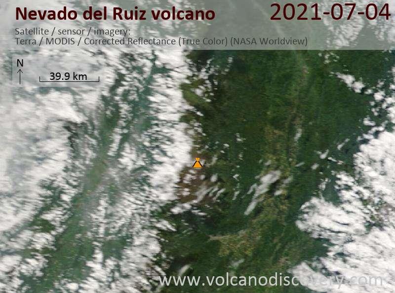 Satellite image of Nevado del Ruiz volcano on  6 Jul 2021