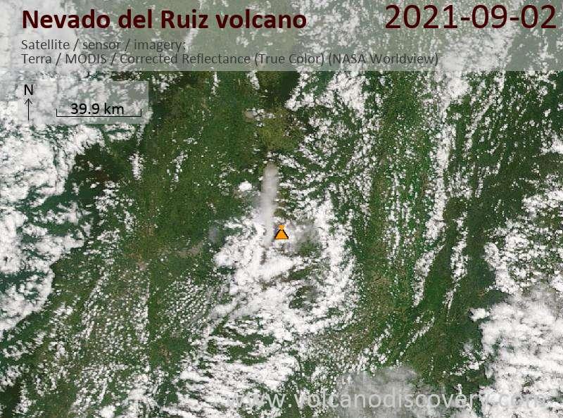 Satellite image of Nevado del Ruiz volcano on  3 Sep 2021