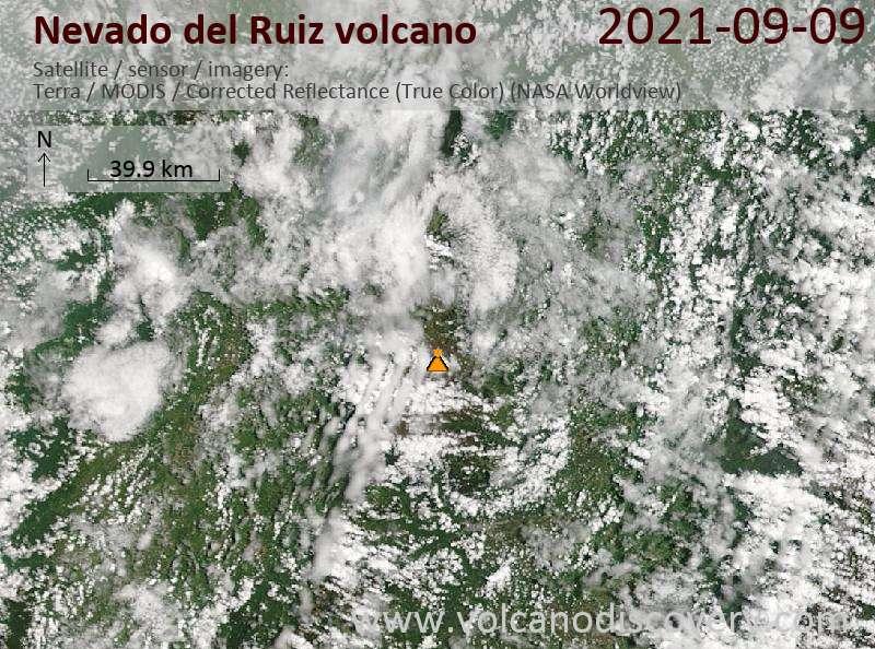 Satellite image of Nevado del Ruiz volcano on  9 Sep 2021