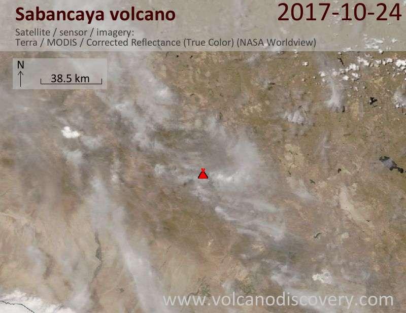Satellite image of Sabancaya volcano on 24 Oct 2017