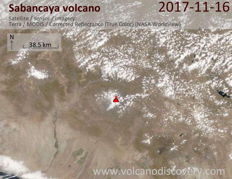 Satellite image of Sabancaya volcano on 17 Nov 2017