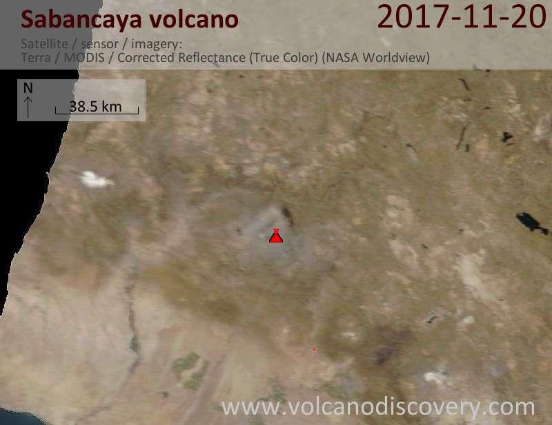 Satellite image of Sabancaya volcano on 20 Nov 2017