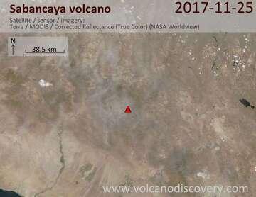 Satellite image of Sabancaya volcano on 26 Nov 2017
