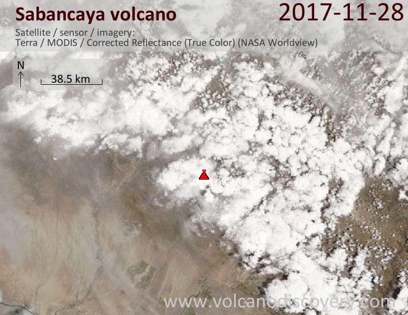 Satellite image of Sabancaya volcano on 28 Nov 2017