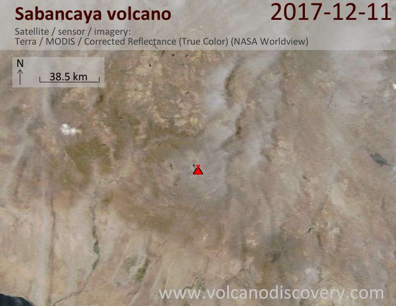 Satellite image of Sabancaya volcano on 11 Dec 2017